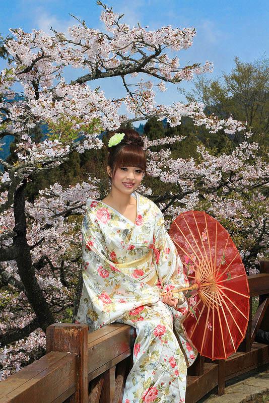 嘉義自助婚紗創作 | 阿里山櫻花妹 丸子頭髮型 模特兒:Jing Jing Wang
