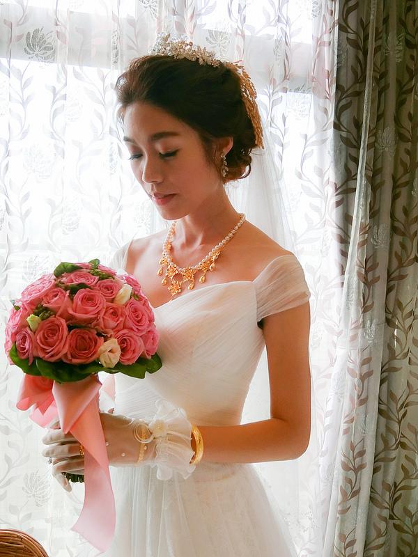 嘉義新秘,新娘秘書,新秘,船老大囍宴餐廳 ,典雅韓風造型,時尚花苞造型