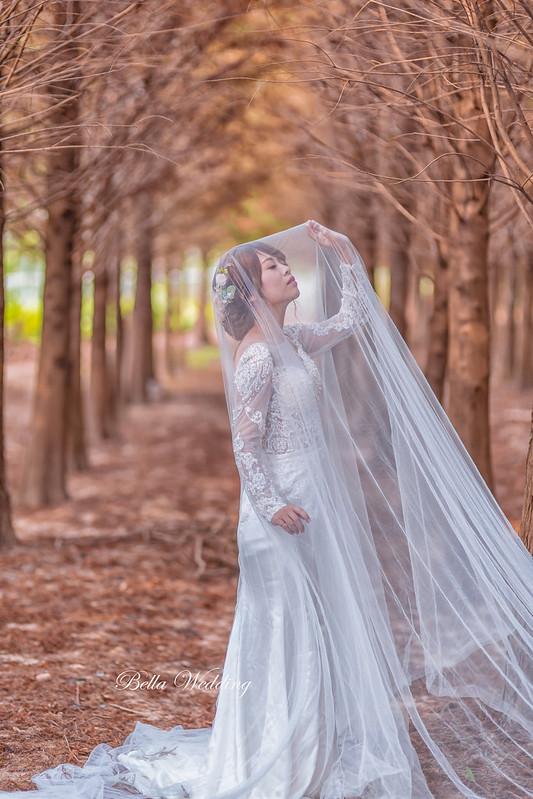 嘉義新秘,新秘,中埔新秘,落羽松婚紗,華麗鏤空蕾絲白紗,微線條韓系低盤,森林系婚紗
