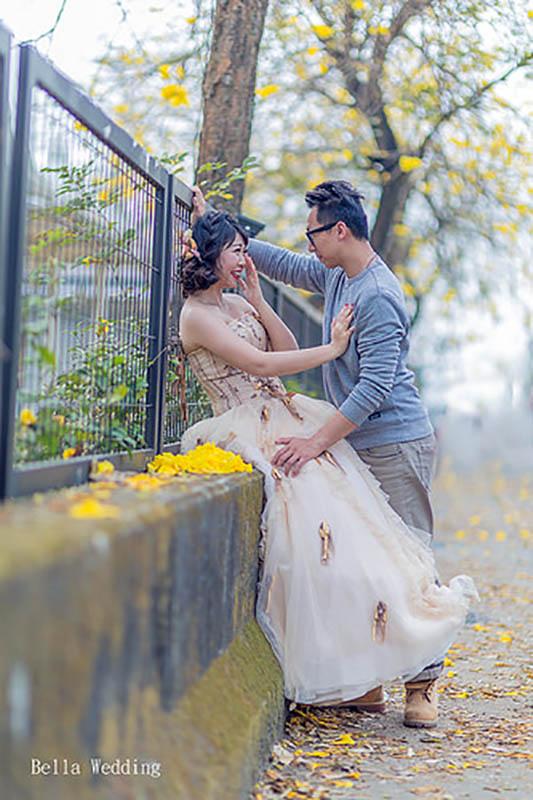 嘉義自助婚紗造型 [立德& 佩慈 ] 黃花風鈴木婚紗 韓式編髮造型