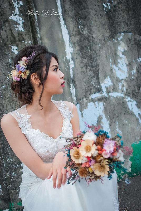 嘉義新秘 , 新娘秘書, 乾燥花捧花, 不凋花新娘造型, 仙仙風造型